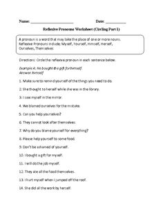 Worksheets Reflexive And Intensive Pronouns Worksheet pronoun worksheets and on pinterest circling reflexive pronouns worksheet