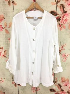 5ce9b770ba4 Hot Cotton by Marc Ware Shirt Size L White Linen Button Down Long Sleeve   HotCotton