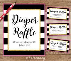 Diaper Raffle Baby Shower Game - Black White Stripes Pink Gold - Baby Boy Baby…