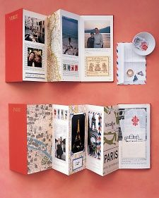 Accordion-Style Travelogue | Use a book, cut apart, reassemble accordion-style with memorabilia added in/alw.