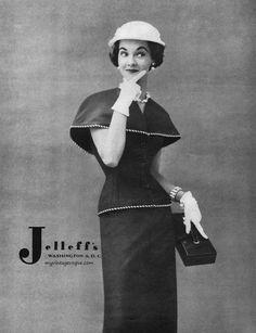 Nan Rees wearing fashion by Jelleff's, 1953.