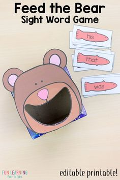 Feed the bear sight word game. A fun way for kids to learn sight words! #sightwords #sightwordactivities #wordwork #prek #kindergarten #firstgrade #spelling #literacy #literacycenters #earlyliteracy