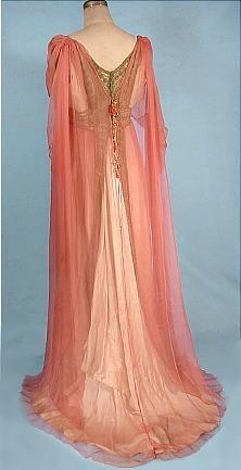 c. 1912 JEANNE HALLEE, Paris Pink Gossamer Silk Chiffon Gown! #3