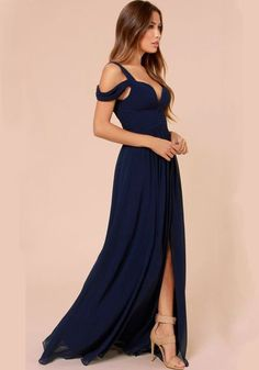 Dark Blue Plain Condole Belt Plunging Neckline Chiffon Dress - Maxi Dresses - Dresses