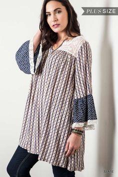Printed 3/4 Sleeve Tunic Dress - Slate - Curvy