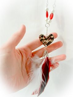 Heart Jewelry // Feather Necklace //  Hearts by MoJosFreeSpirit, $25.00