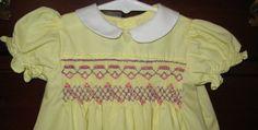 Vintage Look Hand Smocked Baby Girls Yellow Yoke by BarleySews, $85.00