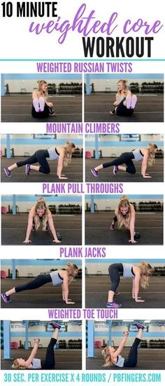 Workout Plan 10 Minute Weighted Core Workout - A 10 minute weighted core workout that will have your abs burning and your heart rate elevated in no time. A great at home ab workout! Fitness Workouts, Fitness Tips, Fitness Style, Health Fitness, Butt Workouts, Fitness Humor, Muscle Fitness, Fitness Quotes, Fitness Games