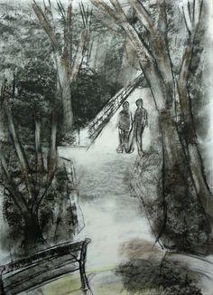 "Saatchi Online Artist: Hans Jorgen Henriksen; Pastel, 2011, Drawing ""The bridge"""