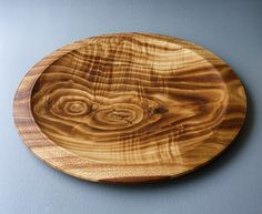 Large Wooden Chestnut Platter/ plate : turning wooden plates - pezcame.com
