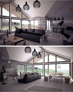 Open Plan + large windows + vaulted ceiling
