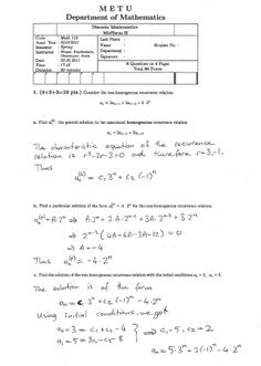 Discrete Mathematics Second Midterm Exam Questions 2011