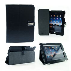 "iPad case with Exec""s signature magnetic buckle, suitable for iPad 2. Size: 20cm x 25.5cm."