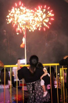 Mother and her daughter, watching Pyromusical (fireworks display) at the SM Mall of Asia Grounds. 🎇🎆👩‍👧