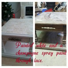 Coffee table white painted champagne through lace for pattern. Champagne, Coffee, Lace, Pattern, Painting, Kaffee, Patterns, Painting Art, Racing