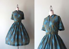 vintage dress / 1950s dress / 50s 60s army green and teal day dress on Etsy, $62.00