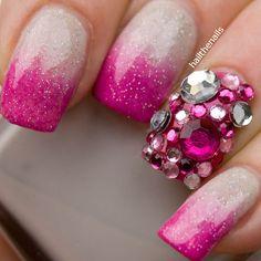Crystals Rhinestones & Gems Pink & clear crystal stud nail art | Nail Design Ideas 2015