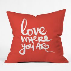 Kal Barteski Love Red Throw Pillow | DENY Designs Home Accessories