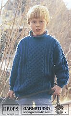 Boy Blue - Jumper with cable pattern in DROPS Karisma Superwash - Free pattern by DROPS Design Winter Knitting Patterns, Knitting For Kids, Crochet For Kids, Knit Patterns, Free Knitting, Baby Knitting, Crochet Baby, Drops Design, Garnstudio Drops