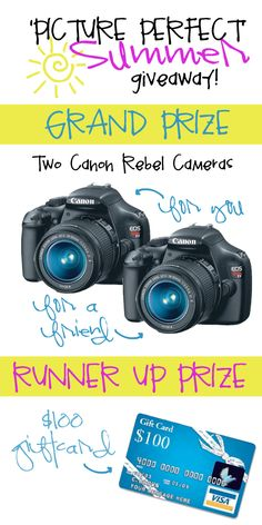 TWO Canon Rebel Cameras GIVEAWAY! One for you and one for your friend! Enter HERE now!