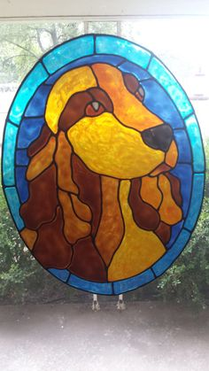 Irish Setter dog stained glass window Cling 11 by windows2thesoul, $8.00