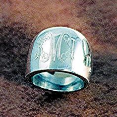 Birthday idea Monogrammed Silver Cigar Band Ring
