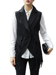 Tassel Patchwork Lapel Plain Waistcoat Only $34.95 USD More info...