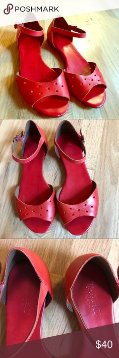 89c3b7aff84 Red Madewell Perforated Leather Flats Great condition! No stains. Small  signs of wear near