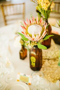 Giant Protea - Single Blooms for Centerpieces   Photography: Kayla Adams & Co.