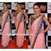 Gorgeous Amy Jackson In Pitch Plain Georgette Saree