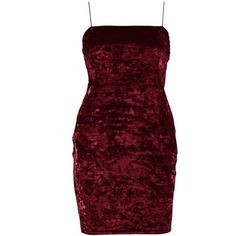 Boohoo Louisa Crushed Velvet Bodycon Dress ($14) ❤ liked on Polyvore featuring dresses, red skater dresses, party dresses, red mini dress, red body con dress and red midi dress