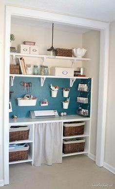 Functional and stylish DIY craft closet + diy drop cloth curtain/CRAFT ROOM Craft Room Closet, Craft Room Storage, Room Organization, Craft Rooms, Desk Storage, Laundry Closet Organization, Playroom Closet, Pegboard Storage, Closet Storage