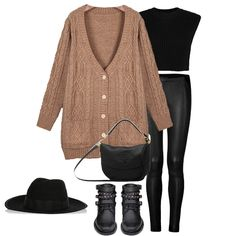 Brown V Neck Long Sleeve Cable Knit Cardigan
