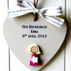 Handmade shabby chic style wooden heart for bridesmaid or flowergirl - Bridesmaid Flowers, Bridesmaid Gifts, Bridesmaids, Wooden Hearts, Shabby Chic Style, Wedding Decorations, Place Card Holders, Boutique, Bridal