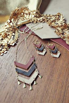 Autumn Chevron Dangles by mooreaseal on Etsy, $ 28.00