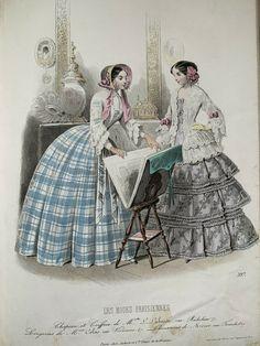 Victorian Era, Victorian Fashion, Vintage Fashion, 60 Fashion, Fashion Prints, 19th Century Fashion, Fashion Plates, Woodblock Print, Hand Coloring