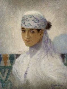 Lucien Levy-Dhurmer (1865-1953), Jeune Fille de Marrakech Portrait d une  berbère marocaine La Jeune Orientale Filles de M.. 2bb5e8af91d