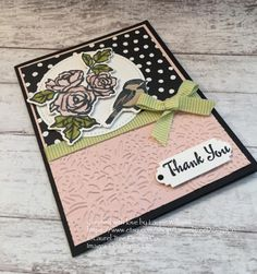 Thank You Card, Handmade Card, Floral Thank You Card, Roses, Flowers, Bird, Pink, Stampin' Up! Petal Palette by LaurelTreeDesignCo on Etsy