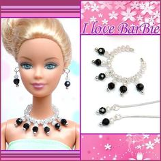 handmade barbie doll crystal jewelry set necklace earrings for barbie dolls Sewing Barbie Clothes, Barbie Sewing Patterns, Barbie Dolls For Sale, Barbie Doll House, Crochet Earrings Pattern, Barbie Doll Accessories, Barbie Hair, Barbie Fashionista, Diy Doll