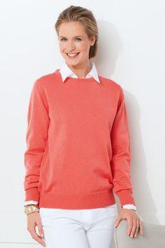 Sélection orange. Le pull jersey fin en pure laine vierge mérinos corail. Collection Printemps-Ete 2015.