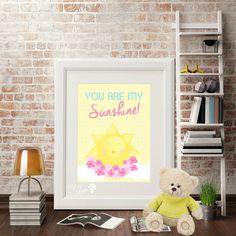 """Póster con el mensaje """"Eres mi rayo de sol"""" Imagen perfecta para cualquier cuarto o área de juegos."""