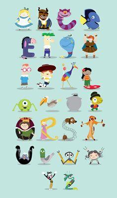 Pixar and other animated characters - Illustration by Maria Jose Da Luz #pixar #pixarminimal
