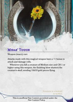 Homebrewing items Midas Touch - A simple yet fun way to increase your players income, now improved! Dungeons And Dragons Classes, Dungeons And Dragons Homebrew, Dungeons And Dragons Characters, Dnd Characters, Dnd Dragons, Dnd Stories, Dungeon Master's Guide, Dnd 5e Homebrew, Dragon Memes