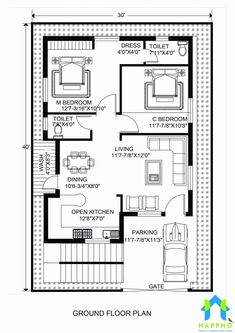 30 40 house plans house floor plans luxury floor plan for x feet plot of 30 x 40 duplex house plans south facing 20x30 House Plans, Modern House Floor Plans, Unique Floor Plans, Simple House Plans, Farmhouse Floor Plans, Home Design Floor Plans, Modern Farmhouse, 2bhk House Plan, Model House Plan