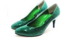 Vintage Bright Green Brand New Eel Skin Heels by MissLizzyD, $15.00