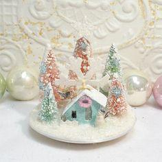 Snowflake Aqua Pastel Putz House Bottlebrush by GumDropSugarShop SOLD