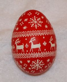 Christmas Pysanky Goose Egg Ornament, Red and White Reindeer and Snowflake Sweater Pattern