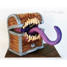 Mimic cake for my 16 year olds Dungeons & Dragons party. . . . . #birthdaycake #dungeonsanddragons #mimicchest #sweetdispositioncakes…