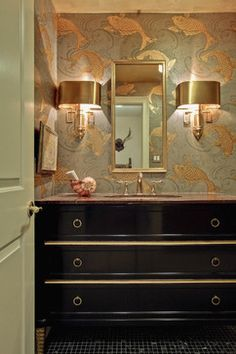 Spaces Powder Room Wallpaper Design, Pictures, Remodel, Decor and Ideas - page 4 Koi Wallpaper, Room Wallpaper Designs, Powder Room Wallpaper, Bathroom Wallpaper, Goldfish Wallpaper, Trendy Wallpaper, Designer Wallpaper, Spiegel Gold, Powder Room Design