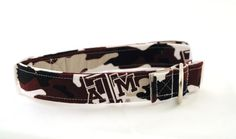Texas A&M Camo Dog Collar  - Adjustable Fabric Collar  - Medium Aggie Collar on Etsy, $16.00